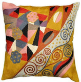 Klimt Cushion Cover Signs Of Spring Wool Hand Embroidered 18