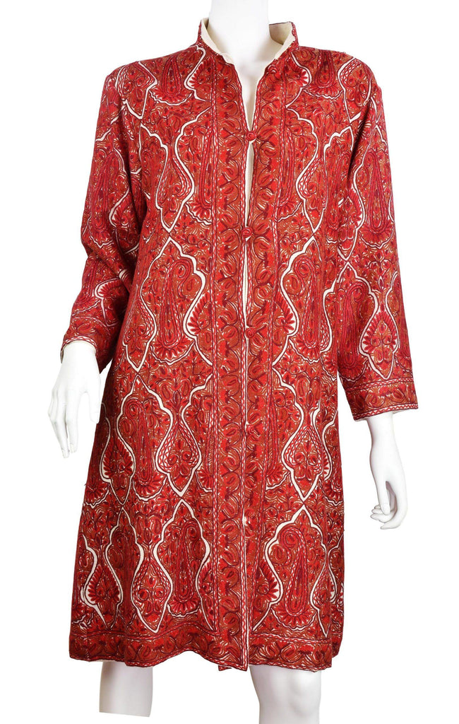 Hebe Paisley Cashmere Jacket Dinner All Over Red Evening Dress Coat Hand Embroidered Kashmir (Copy)