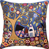 Swirl Tree Village Karla Gerard Accent Pillow Cover Handembroidered Wool 18