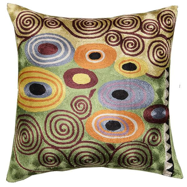 "Klimt Green Decorative Pillow Cover Brown Swirls Art Silk 18x18"" - KashmirDesigns"