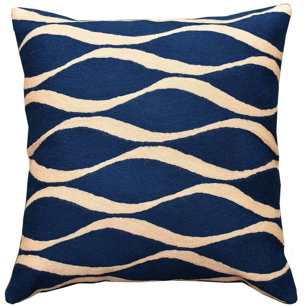 "Contemporary Waves Midnight Blue I Decorative Pillow Cover Handmade Wool 18"" x 18"" - KashmirDesigns"