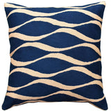 Contemporary Waves Midnight Blue I Decorative Pillow Cover Handmade Wool 18