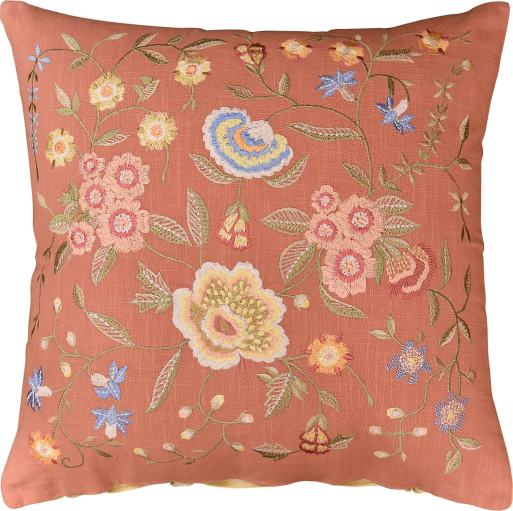 "Vienna Rose Floral Design Decorative Cotton Pillow Cover Embroidered 18""x18"" - KashmirDesigns"