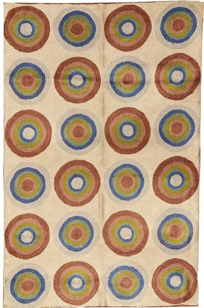 Kandinsky Circles Silk Rug / Wall Tapestry Hand Embroidered 2ft x 3ft - KashmirDesigns
