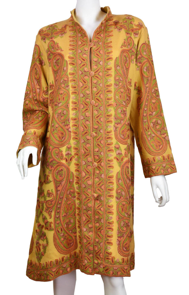 Penelope Paisley Cashmere Jacket Dinner Yellow Gold Evening Dress Coat Hand Embroidered Kashmir