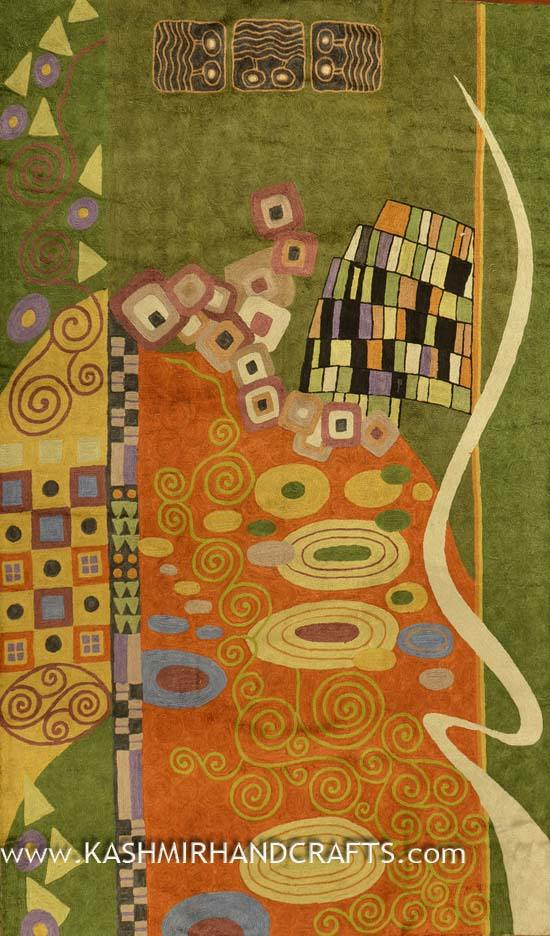 Klimt Modern Silk Abstract rug / tapestry / Tapestry Hand Embroidered 3ft X 5ft