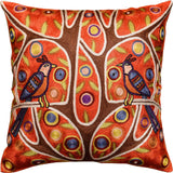 Folk Love Birds Tree of Life Karla Gerard Red Toss Pillow Cover Art Silk 18