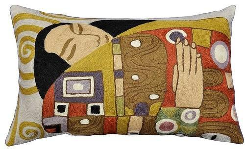 "Lumbar Klimt Kiss Embrace Pillow Cover Decorative Hand Embroidered Wool 13x21"" - KashmirDesigns"