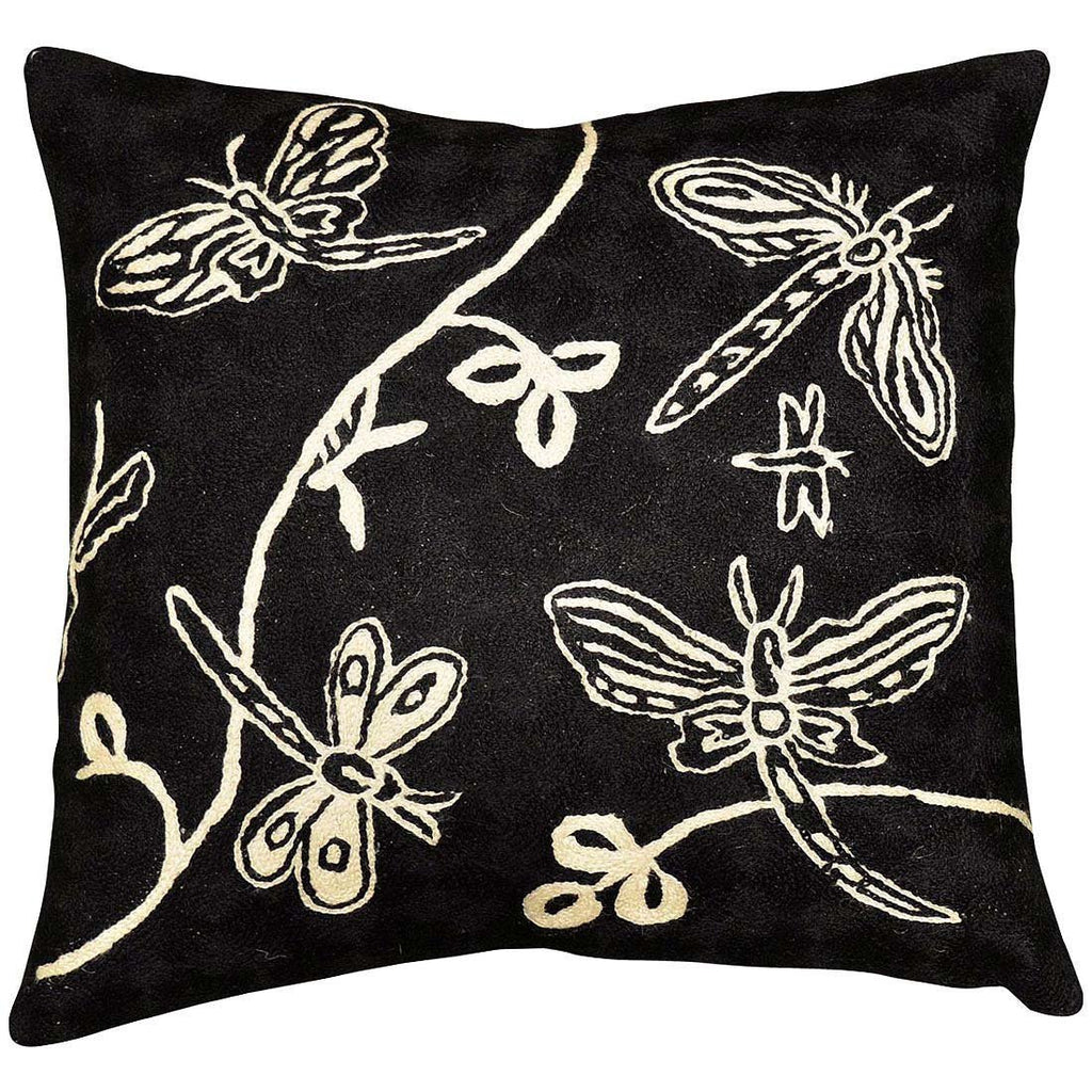 "Butterfly Black White Decorative Pillow Cover Hand Embroidered 18"" x 18"" - KashmirDesigns"