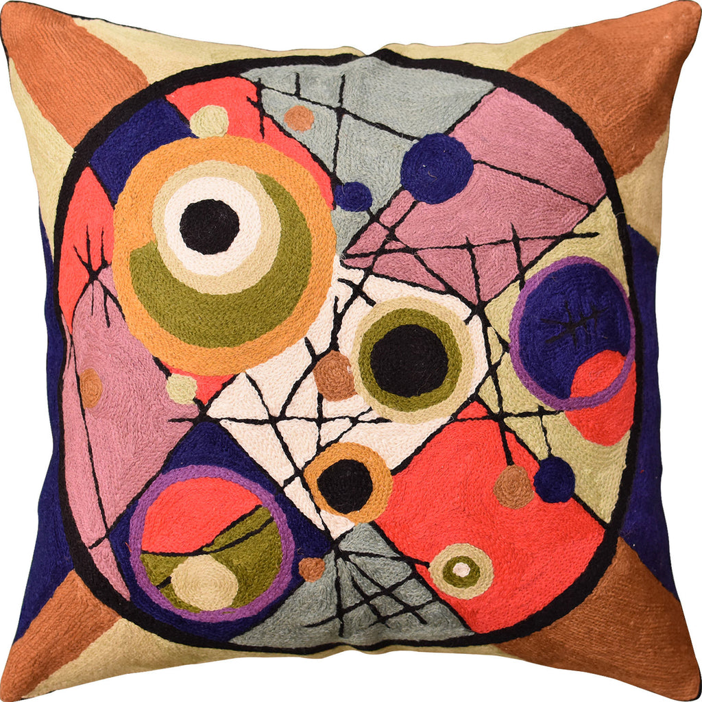 "Kandinsky Circles In Circle II Throw Pillow Cover Handembroidered Wool 18""x18"" - KashmirDesigns"