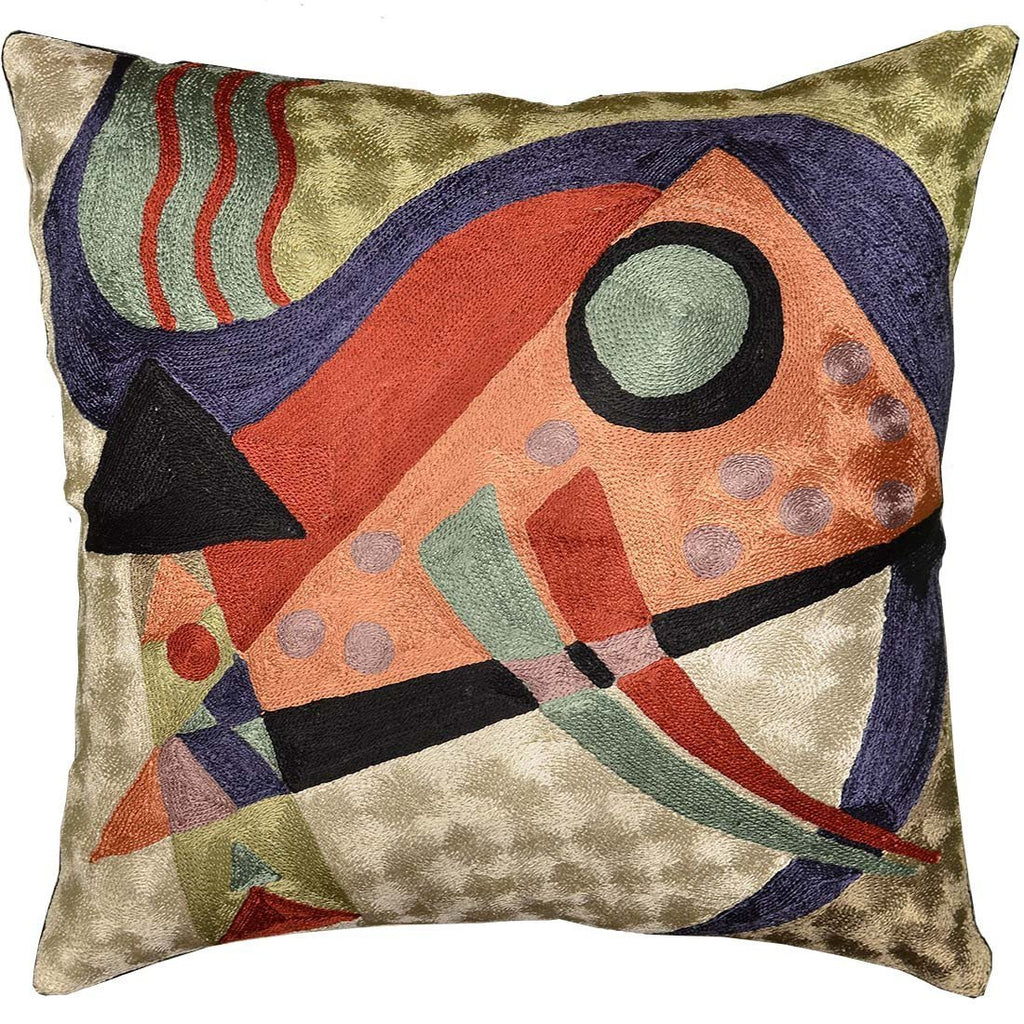 "Kandinsky Abstract Composition Orange Silk Throw Pillow Cover 18"" x 18"" - KashmirDesigns"