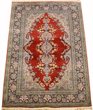 6'X4' Red Saroukh Rug Pure Silk Pile Oriental Carpet Area Rugs Hand Knotted