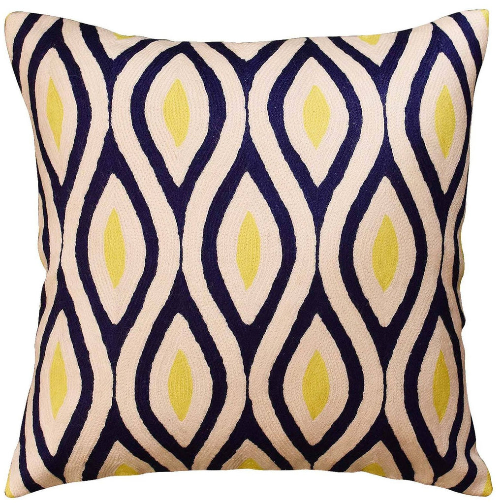 "Contemporary Seamless Navy Yellow Accent Pillow Cover Handembroidered Wool 18""x18"" - KashmirDesigns"