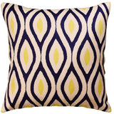 Contemporary Seamless Navy Yellow Accent Pillow Cover Handembroidered Wool 18