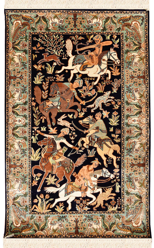 2.5'x4' Navy Pure Silk Rug Hunting Scene Rugs Wall Art Wallhanging Hand Knotted - KashmirDesigns