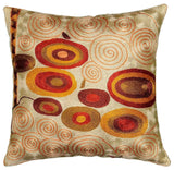 Klimt Accent Pillow Cover, Ivory Swirls, Silk, Hand Embroidered 18