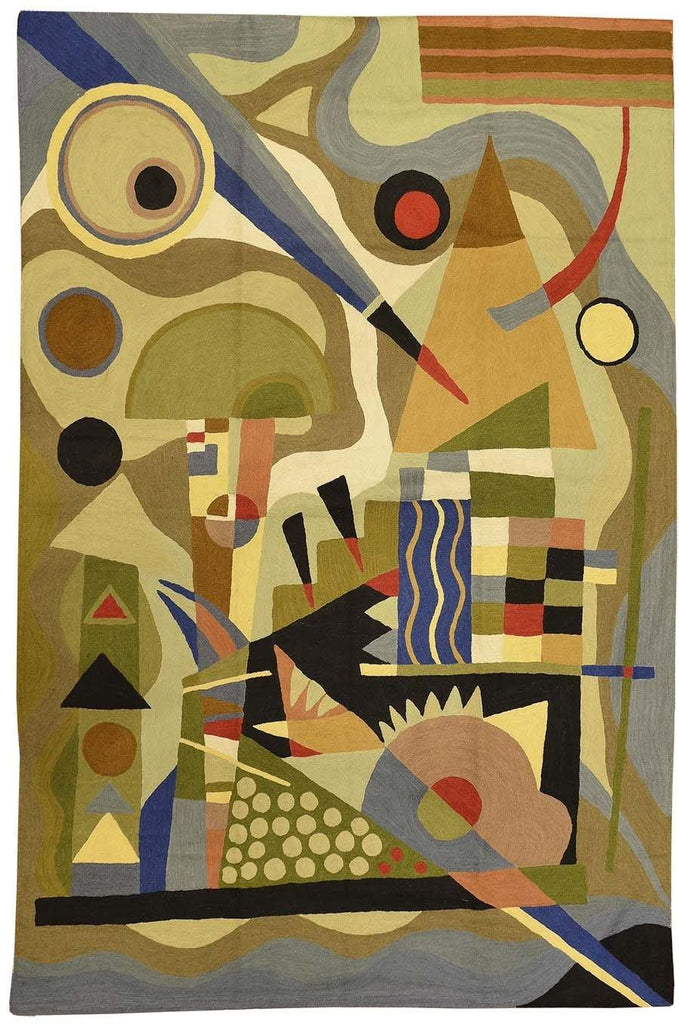 5ftx7ft Kandinsky Abstract Composition Wool Rug / Wall Tapestry Hand Embroidered - KashmirDesigns