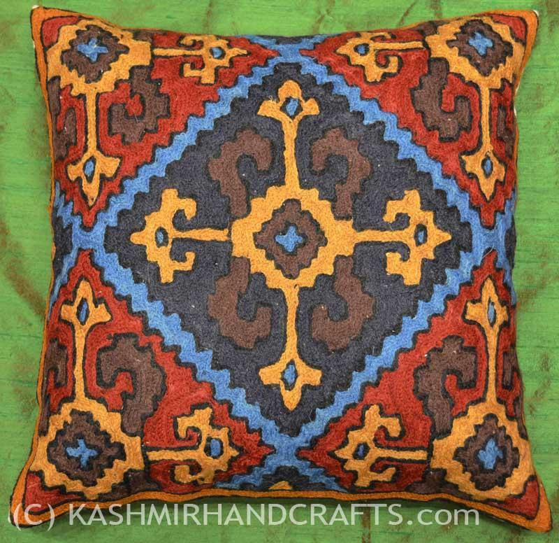 Crossroads Tribal Wool Decorative Pillow Cover HANDEMBROIDERED