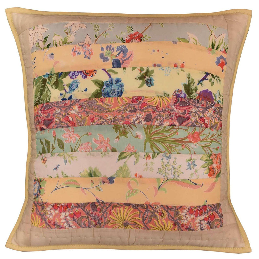 "Romantic Patchwork I Floral Accent Cotton Pillow Cover Handprint Design 18""x18"" - KashmirDesigns"