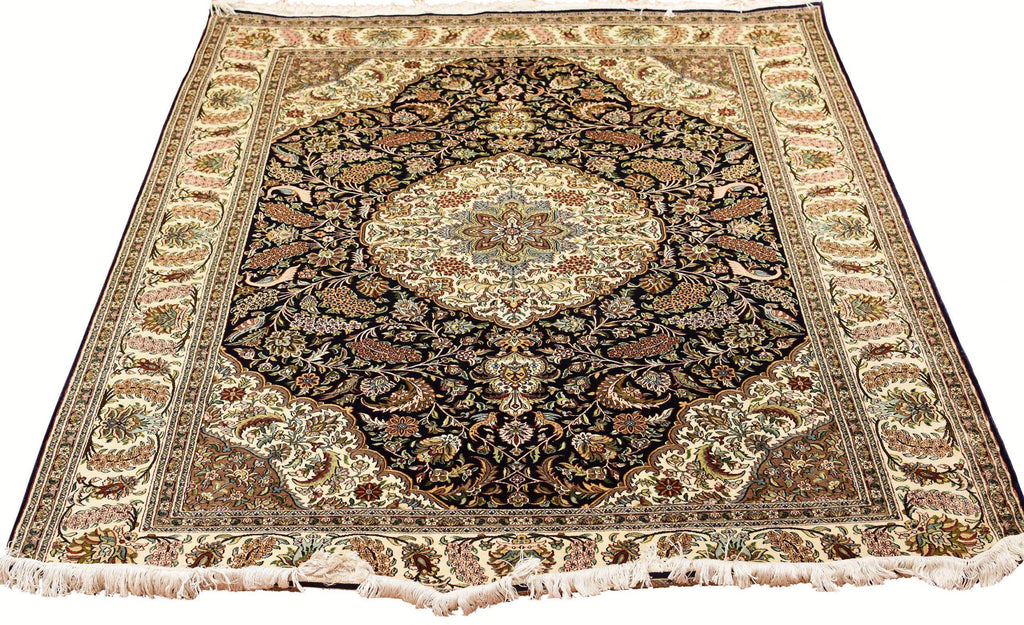 5x7' Kirman Silk on Silk Rug Oriental Carpet Medallion Hand Knotted Museum Quality