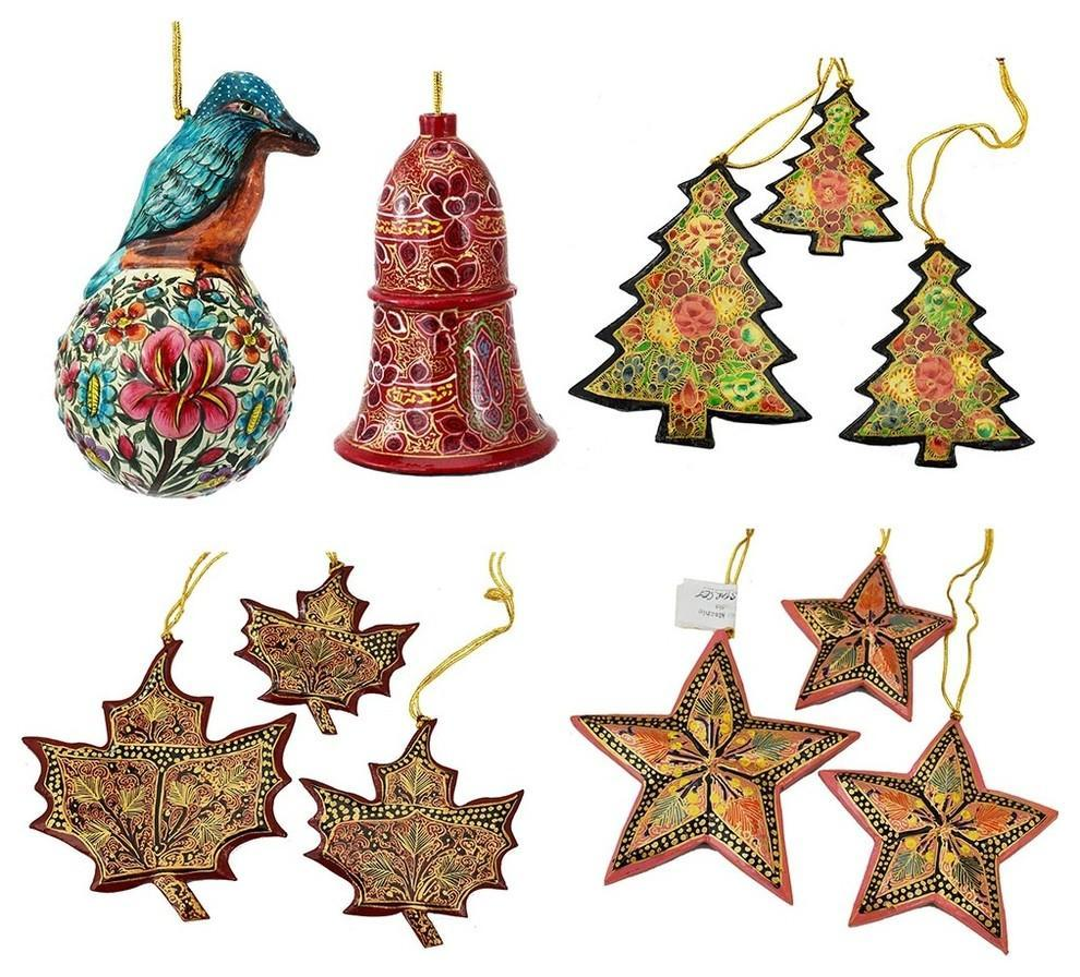 Christmas Ornaments Holiday Decorations Robin Ball, Bell, Maple, Tree, Star Set - KashmirDesigns