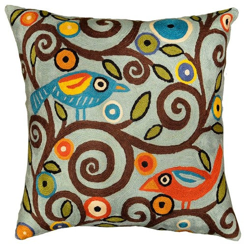 "Branch Birds Karla Gerard Decorative Pillow Cover Handembroidered Wool 18""x18"" - KashmirDesigns"