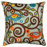 Branch Birds Karla Gerard Decorative Pillow Cover Handembroidered Wool 18