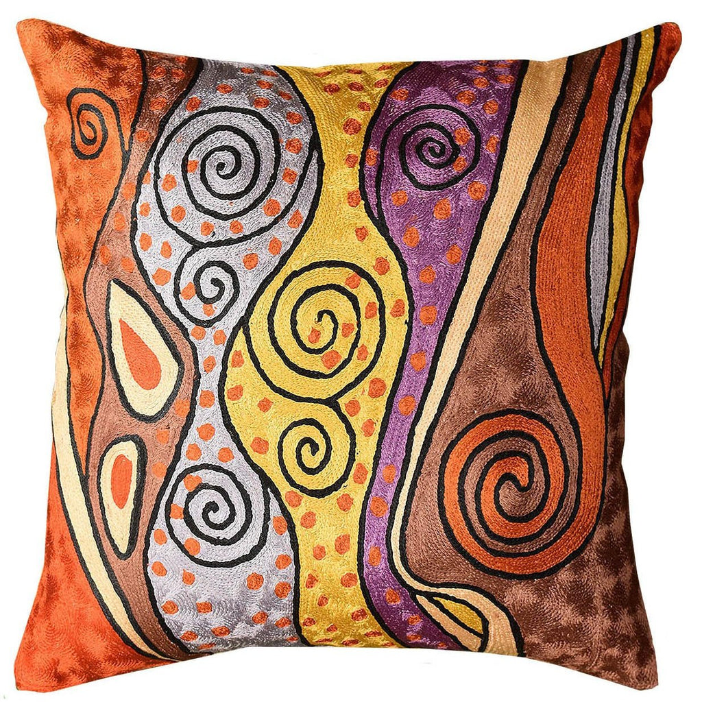 "Klimt Decorative Pillow Cover Rust Night Sky Hand Embroidered Art Silk 18"" x 18"" - KashmirDesigns"