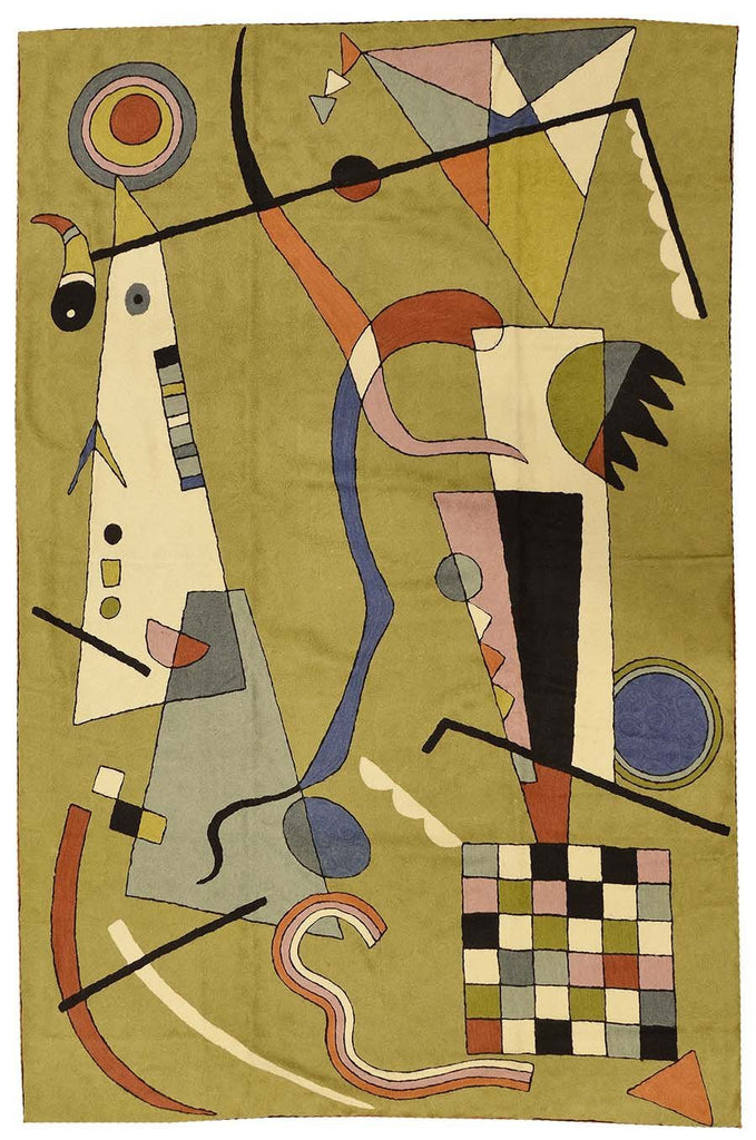 Kandinsky Abstract Airplane Wool Rug / Wall Tapestry Green Hand Embroidered 6ft x 4ft - KashmirDesigns