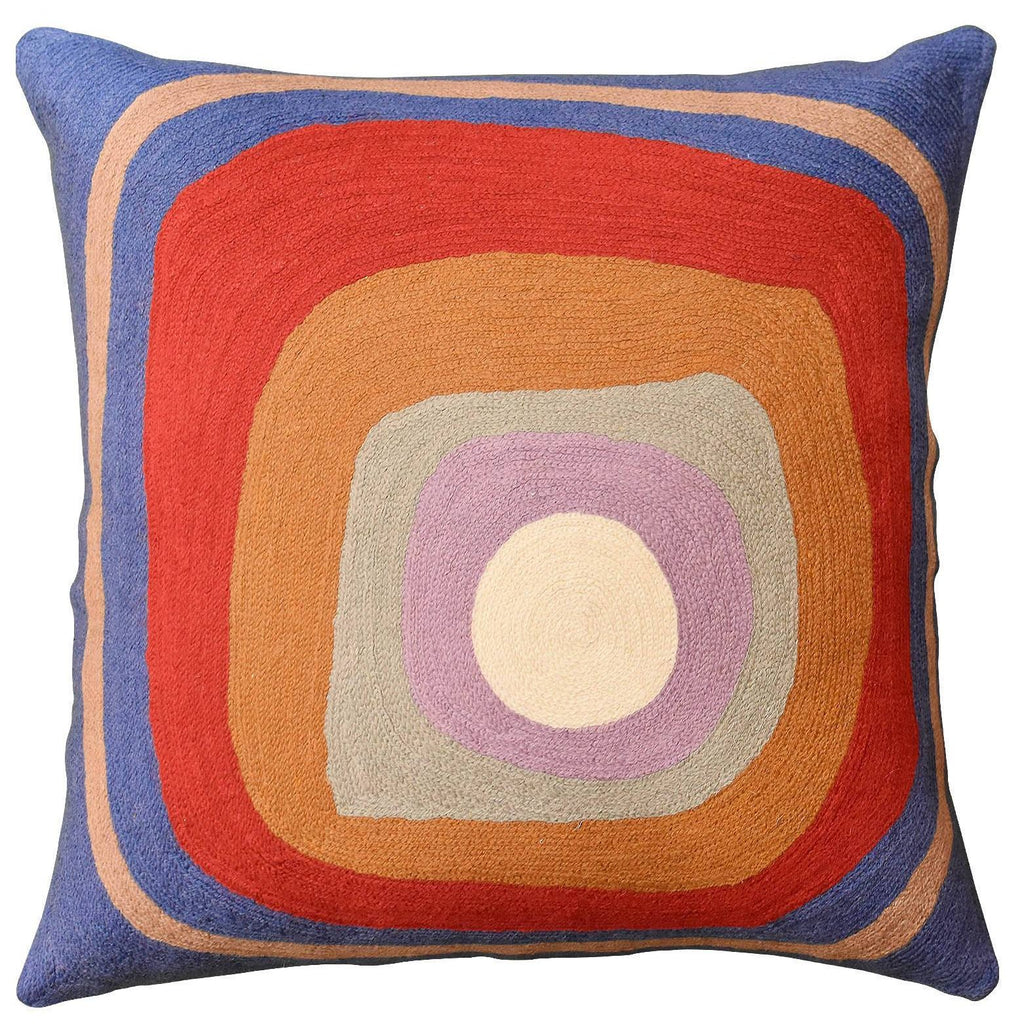 "Kandinsky Ruby Square Medium Blue IV Throw Pillow Cover Handmade Wool 18""x18"" - KashmirDesigns"