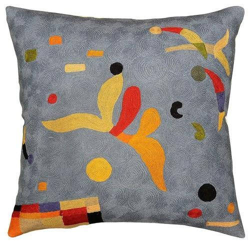 "Kandinsky Elements Blue Pillow Cover Hand Embroidered 18"" x 18"" - KashmirDesigns"