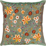 Tropica Green Floral Design Decorative Cotton Pillow Cover Embroidered 17