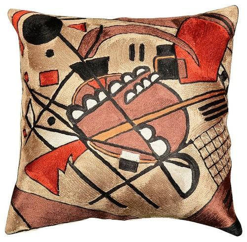 "Kandinsky Brown Pillow Cover Varyagi Decorative Silk Hand Embroidered 18"" x 18"" - KashmirDesigns"