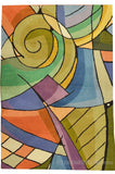 Kandinsky 2ft x 3ft Green Purple Wool Rug / Tapestry Hand Embroidered