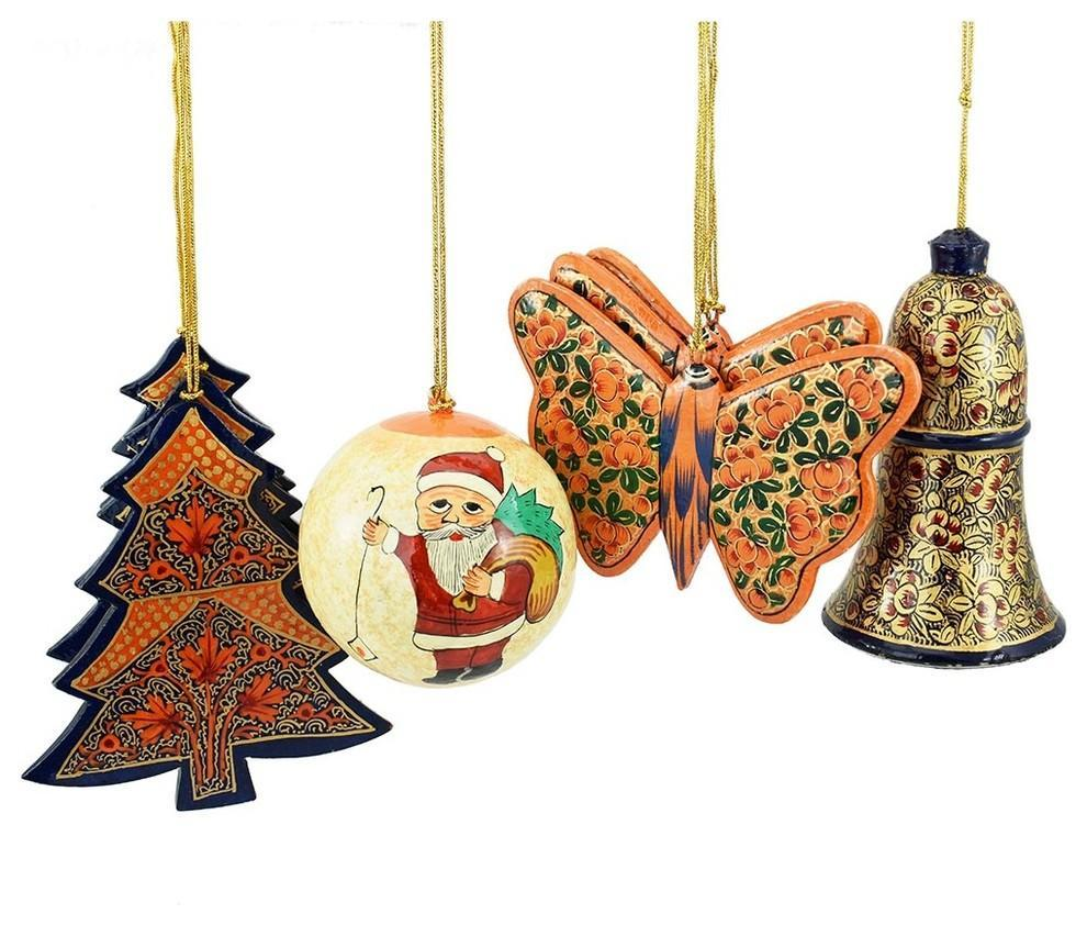 Holiday Christmas Ornaments, Hand Painted Ball, Bell, Tree and Butterfly Sets - KashmirDesigns