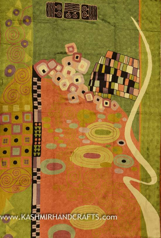 Klimt Modern Abstract Rug / Tapestry Hand Embroidered 4ft X 6ft