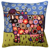 Blooming Cow Karla Gerard Decorative Pillow Cover Handembroidered Wool 18