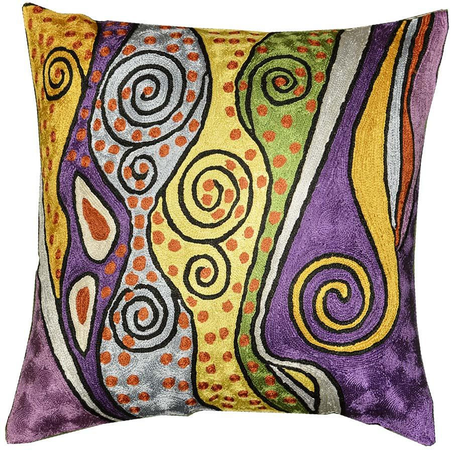 "Klimt Accent Pillow Cover Purple Lavender Art Silk Hand Embroidered 18x18"" - KashmirDesigns"