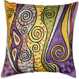 Klimt Accent Pillow Cover Purple Lavender Art Silk Hand Embroidered 18x18