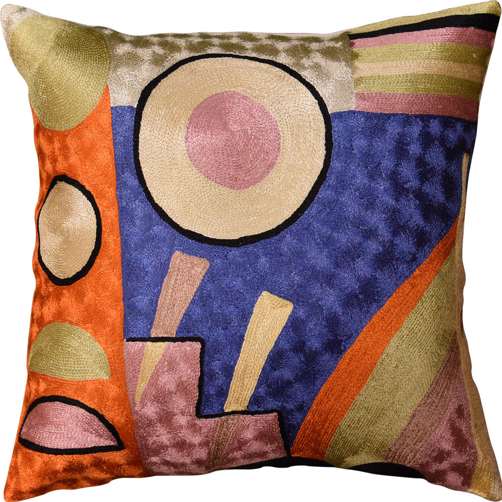 "Kandinsky Soul Flood IV Blue Accent Pillow Cover Handmade Art Silk 18""x18"" - KashmirDesigns"