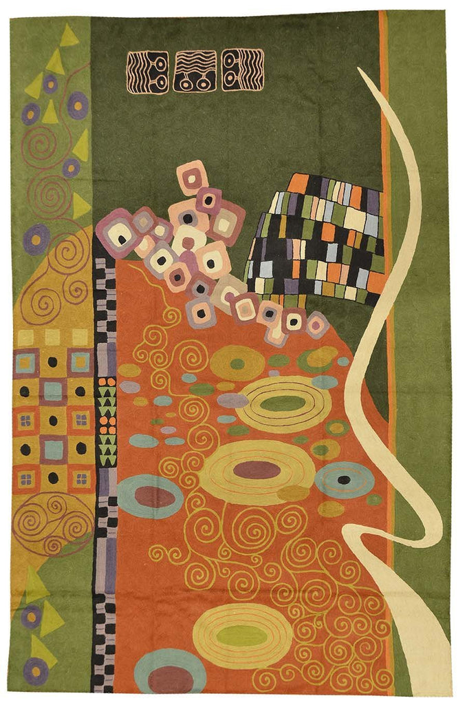 Klimt Wool Rug Green Coral / Wall Tapestry Hand Embroidered 6ft x 4ft - KashmirDesigns