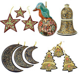 Christmas Ornaments Holiday Decorations, Robin Ball, Bell,Moon, Tree and Star Se