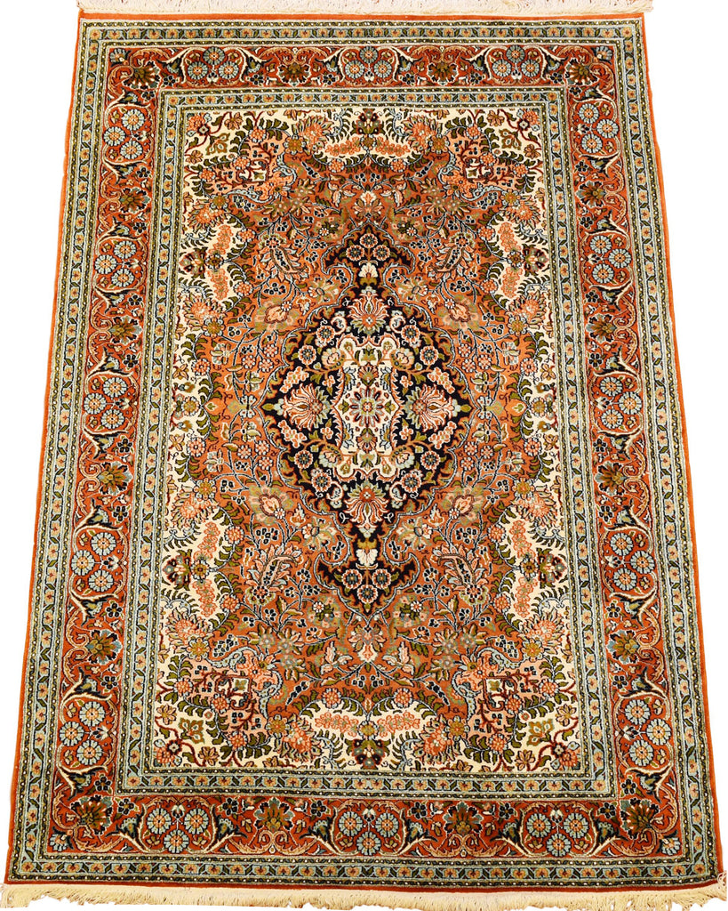 6'X4' Isfahan Rug Pure Silk Pile Salmon Green Oriental Area Rugs Carpet Hand Knotted