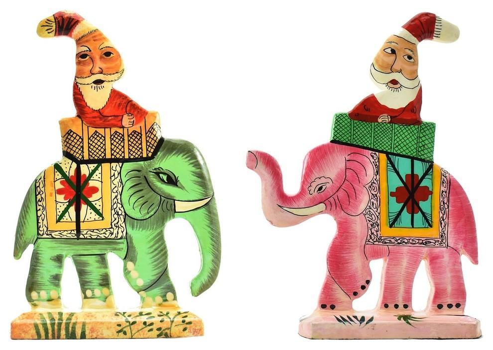 Santa Elephant Christmas  Holiday Ornaments II Handpainted, Set of 2 - KashmirDesigns