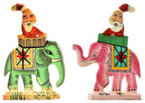 Santa Elephant Christmas  Holiday Ornaments II Handpainted, Set of 2
