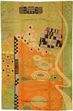 Klimt Green Orange Modern Abstract Rug / Wall Art Hand Embroidered 4ft X 6ft