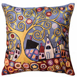 Swirl Tree Village  Karla Gerard Pillow Cover Handembroidered Art Silk 18