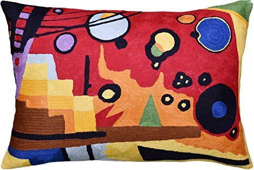 Kashmir Designs Lumbar Kandinsky Heavy Red Decorative Pillow Cover Abstract Hand Embroidered Wool 14x20