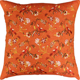 Parakeet Orange Tree of Life Decorative Cotton Pillow Cover Embroidered 18