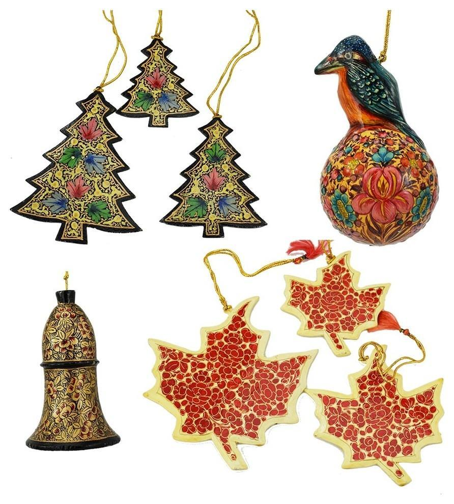 Holiday Christmas Ornaments, Hand Painted Robin Ball, Bell, Tree and Maple Sets - KashmirDesigns